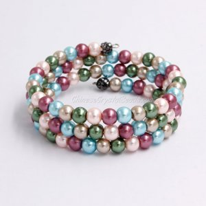 Memory Wire Bracelet, 6mm glass pearl beads, #004