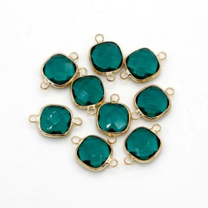 5Pcs 13x20mm emerald square Glass crystal Connecter Bezel pendant, Drops Gold Plated two Loops