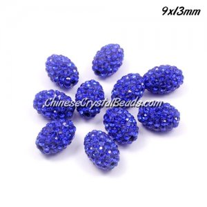Oval Pave Beads, 9x13mm, Clay, sapphire, sold per 10pcs bag