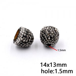 Clay pave end cap beads, earring caps, 14x13mm, inner diameter 9mm, 2pcs
