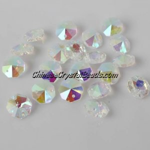 Crystal 14mm Octagon beads, 2 hole, Clear AB, 20 beads