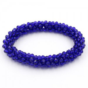 Weave crystal braclet, blue color, 10mm Thickness