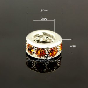 Rondelle Rhinestone Ball Charms, 6x8x14mm, amber, 9 pieces