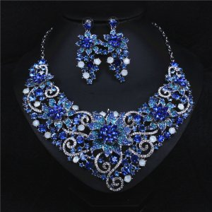 Blue flower Crystal Rhinestone Crystal Statement Necklace - Luxury Elegant Fashion European Baroque Flower Necklace For Party