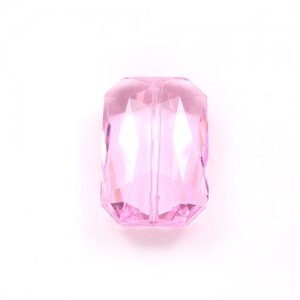 Crystal Faceted Rectangle Pendant, Pink, 18x27mm, 1 piece