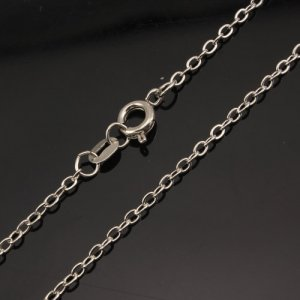 Chain, dark silver-plated steel, 1mm, 16-inch. Sold individually. #003