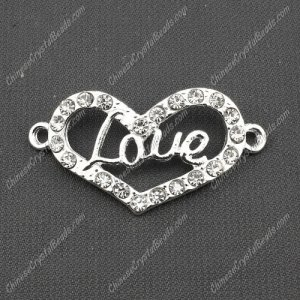 pave love heart Charms, 41x22mm, silver, 1 pcs