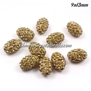Oval Pave Beads, 9x13mm, Clay, champagne, sold per 10pcs bag