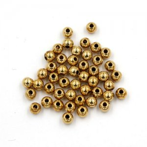 100Pcs 4x5mm CCB acrylic round spacer beads, gold, hole:1.5mm