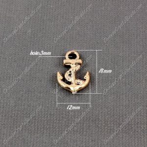 CCB Plastic Beads, golden color, anchor pendant, 18x12x3mm, hole:3mm, sold per pkg of 50pcs