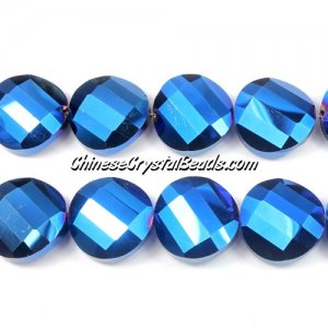 Chinese Crystal Twist Bead, 18mm, Blue Light, 10 beads