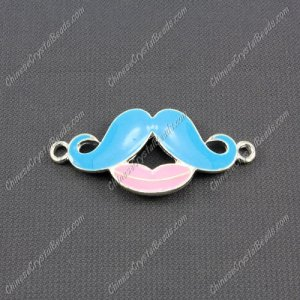 Pave accessories, mustache, 18x42mm, aqua, Sold individually.