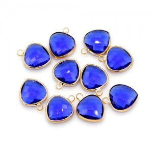 5Pcs 14x18mm heart sapphire Glass crystal Connecter Bezel pendant, Drops Gold Plated one Loops