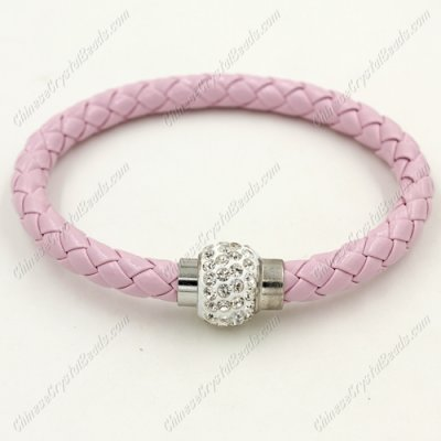 12pcs Weave leather bracelet, Magnetic Clasps, pink, wide 7mm, length about 7inch