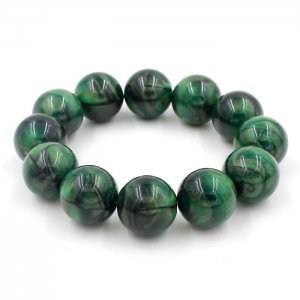 Imitation ABS Cat Eye's Beads Bracelet, green, inside diameter:16.5cm