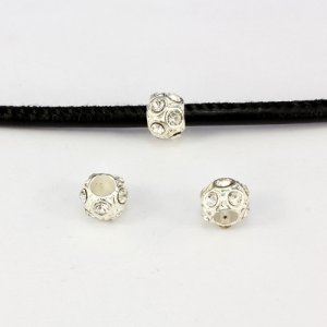 Alloy European Beads, #005, 8x10mm, hole:4mm, pave clear crystal, silver plated, 1 piece