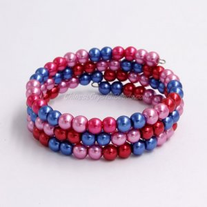 Memory Wire Bracelet, 6mm glass pearl beads, #009