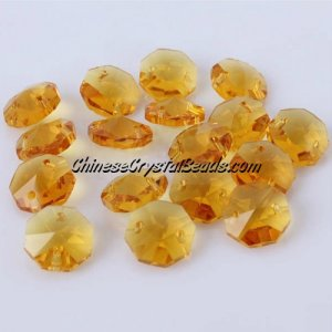 Crystal 14mm Octagon beads, 2 hole, Sun 20 beads