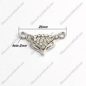 Pave Crystal Links Charms Fox, silver plated alloy, 26mm, 1 pcs