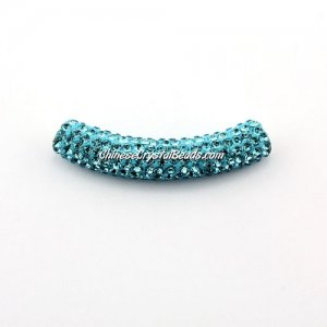 Pave Crystal Pave Tube Beads, 45mm, 4mm hole, aqua, sold 1pcs