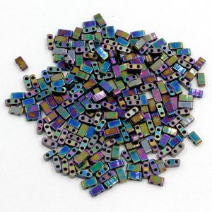 5x2.5mm chinese glass Half Tila rainbow approx 200 beads