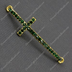 Pave cross Charms, alloy gold-plated, 14x50mm, hole: 2mm, emerald, 1pcs