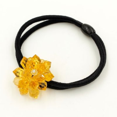 Ponytail holder with Crystal topaz flower, Double rubber band, hair tie, elastic hair tie, 1 pc