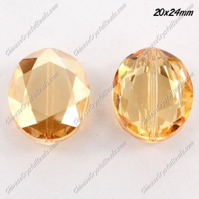 Chinese Crystal Faceted Oval pendant, golden shadow,20x24mm, 1 beads