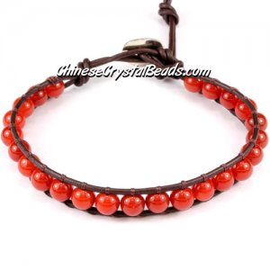 Beaded Wrap Bracelet, 6mm Carnelian beads, 6.5inch