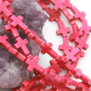 12x16mm Hot Pink Howlite Turquoise Loose Spacer Beads Cross 15.5 inch strand