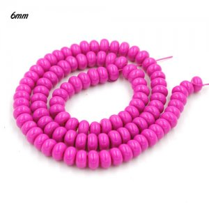 100Pcs 6x3.5mm Smooth Roundel Shape Glass Beads, rondelle glass beads strand, hole 1mm, fuchsia