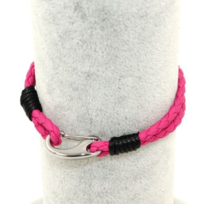 Stainless steel Men's Braided Leather Bracelets Clasp, hot pink