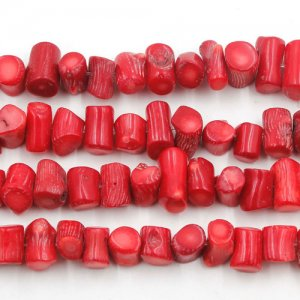 Natural Coral Beads, Tube, red, Grade AA, 5-8mm,6-15mm, Hole:Approx 1mm, Length:15 Inch