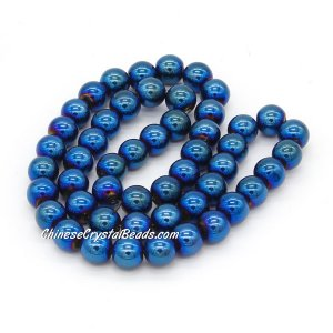 51Pcs 8mm Round Glass Beads, hole 1.5mm, Metalic blue