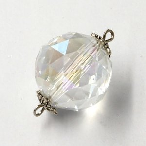 20mm big crystal ball pendant connector charms, silver shade, 1 pc
