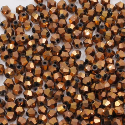 700pcs Chinese Crystal 4mm Bicone Beads, copper, AAA quality