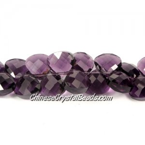 Crystal Flat Briolette beads strand ,12x13mm, violet, 20 beads