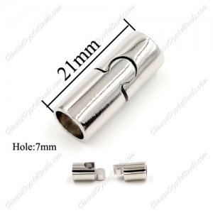 Brass Magnetic Clasps, Tube, 21x9mm, platinum, half-drilled hole, hole:7mm, 1pcs