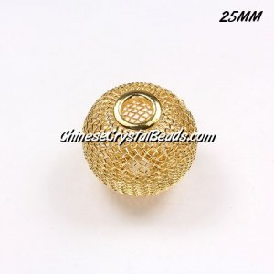 25mm Gold Mesh Bead, Basketball Wives, 10 pieces