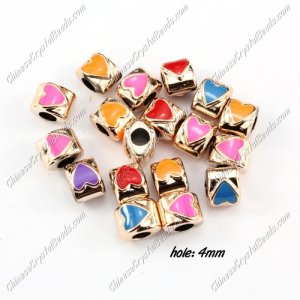 CCB, heart beads, hole: 4mm,8x10x10mm, mixture color, sold per pkg of 20 pcs