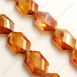 10Pcs Faceted Polygon Hexagon Glass Crystal, orange light, hole:1.5mm (2 size)