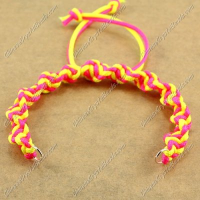 Pave Twist chain, nylon cord, neon fuchsia and neon yellow, wide : 7mm, length:14cm