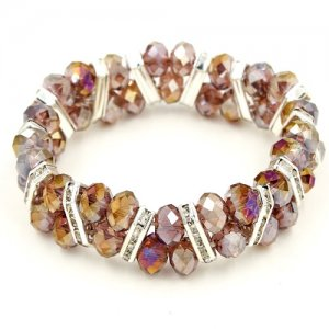 8mm amethyst rondelle crystal beads, 7.5 inch