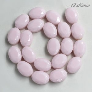 12x16mm Oval Faceted Crystal Beads, Opaque pink, 1 Pc