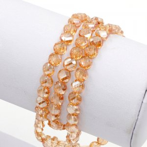 98Pcs 6mm twist crystal beads, golden shadow