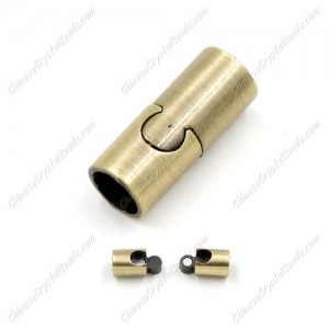 Brass Magnetic Clasps, Tube, 21x9mm, antique bronze plated, half-drilled hole, hole:7mm, 1pcs