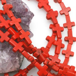 12x16mm Red Howlite Turquoise Loose Spacer Beads Cross 15.5 inch strand