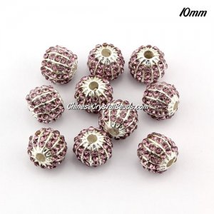 alloy pave disco beads, 10mm, 1.5mm hole, 60 crystal stone, amethyst, sold 10 pcs