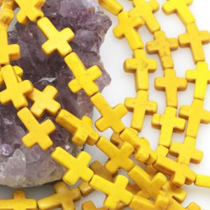 12x16mm yellow Howlite Turquoise Loose Spacer Beads Cross 15.5 inch strand