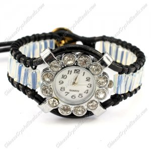 Beaded Wrap watch Bracelet, cuboid crystal beads, 7 to 8inch